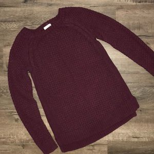 Maison Jules grape crochet sweater